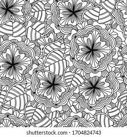 Doodle flowers and leaves hand drawn seamless pattern. Vector zentangle style floral coloring book page.