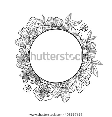 Doodle Flowers Leaves Hand Drawn Zentangle Stock Vector Royalty