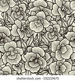 Doodle flores padrão sem costura. Arte inspirada flores estilo e folhas de fundo. Padrão de ervas desenhado à mão preto e bege.