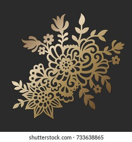 Doodle Flowers. Vector cutting file. Decorative element.