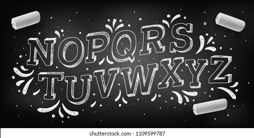 Doodle font. Chalk hand drawing alphabet, vector illustration.
