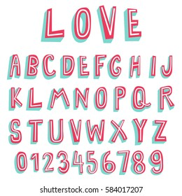 doodle font,3d alphabets,two tone display font