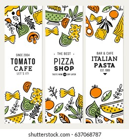Doodle food banner collection. Pizza and pasta illustration. Vector illustration