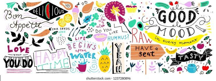 Doodle Food Banner. Vegan restaurant, cafe, home decor. Ready vector template.