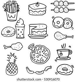 Doodle of food breakfast lunch or dinner