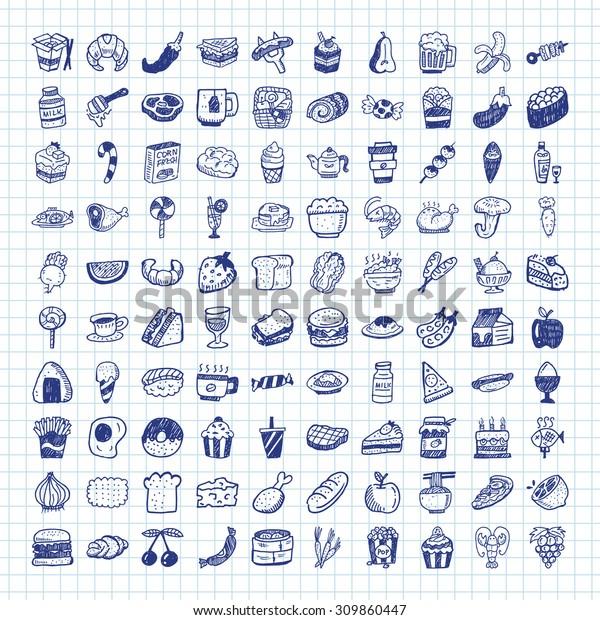 Vetor stock de Doodle Food Icons (livre de direitos) 309860447