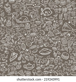 doodle food icons seamless background, vector illustration