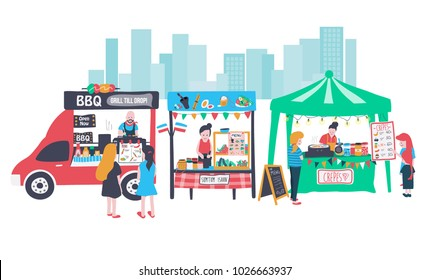 "doodle food street banner consisting of barbecue food truck, som tum isaan stall which means ""thai papaya salad"", and crepe stall, all in colorful flat style, illustration, vector"