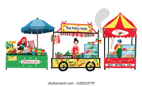 Doodle food street at the marketplace or flea market: meatballs stall, Thai papaya salad stall, and smoothies vendor, all in colorful flat cartoon design, illustration, vector