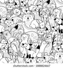 Doodle forest animals black and white seamless pattern. Funny coloring page with woodland characters. Vector illustration