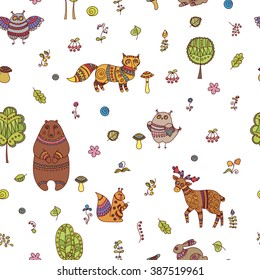 Doodle forest seamless pattern