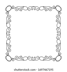 Doodle frame. Floral and geometric patterns.Black and white image.Outline drawing by hand.Vector image