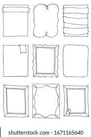 doodle frames set. Collection of hand drawn frames.