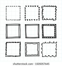 doodle frames set, vector illustration