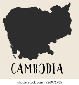 Doodle Freehand map sketch of Cambodia ,Vector Illustration