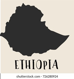 Doodle Freehand map sketch of Ethiopia ,Vector Illustration