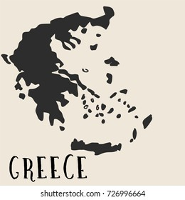 Doodle Freehand map sketch of Greece ,Vector Illustration