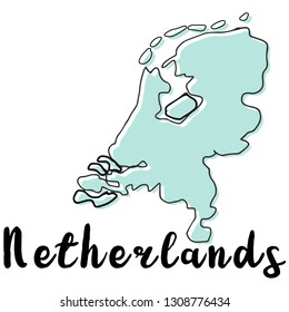 Doodle Freehand map sketch of Netherlands ,Vector Illustration