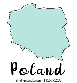 Doodle Freehand map sketch of Poland ,Vector Illustration