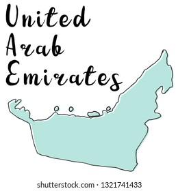 Doodle Freehand map sketch of United Arab Emirates ,Vector Illustration