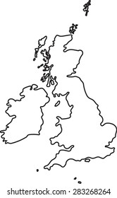 Doodle freehand outline sketch of Great Britain map. Vector illustration.