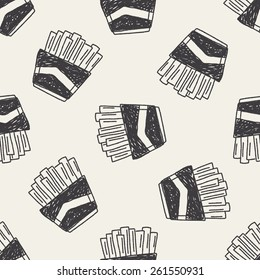 Doodle French fries seamless pattern background
