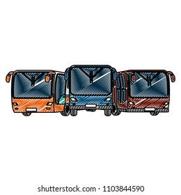 doodle front busses transport cities travel