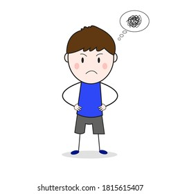 Doodle Frown Face Standing With Akimbo Pose Cartoon Vector