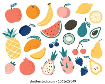 Doodle fruits. Natural tropical fruit, doodles citrus orange and vitamin lemon. Vegan kitchen apple hand drawn, organic fruits or vegetarian food. Vector isolated icons illustration set