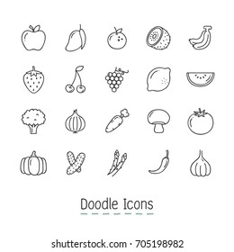 Doodle Fruits And Vegetable Icons. Hand Drawn Icon Set.