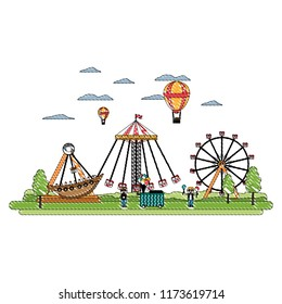 doodle funny carnival mechanical ride games
