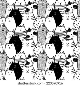 Doodle funny cats seamless pattern.