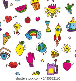 Doodle funny seamless pattern for party or whimsical background. Vector graphic illustration