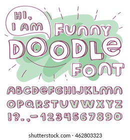 Doodle funny vector font. Hand drawn alphabet with english letters and some signs.Vector modern illustration and design element on white background.