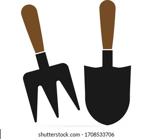 Doodle gardening tools icon isolated on white. Vector stock illustration