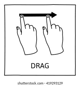 Doodle gesture icon. Drag or swipe with one finger. Touch screen hand finger gestures. Hand drawn. Isolated on white. Vector illustration.