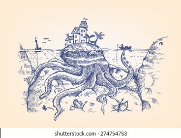 Doodle of a Giant Octopus disguised as an Island  attacks a fisherman. Can be a symbol of Legendary sea monsters like the Kraken and more. Hand drawn pen ink artwork. Editable EPS10.