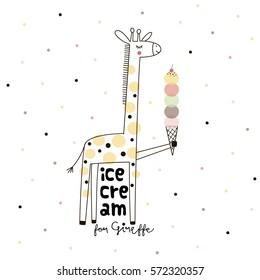 doodle giraffe with ice cream, nursery art