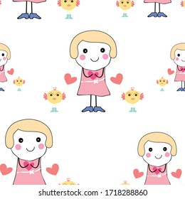 doodle girl and cute bird with pink heart  seamless pattern background design vector eps.10