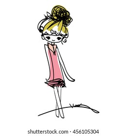 doodle girl illustration, cartoon illustration, girl art, fashion look