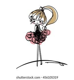 doodle girl illustration, cartoon illustration, girl art, fashion look, tutu dress