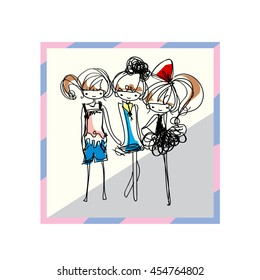 doodle girl illustration, three girls fashion look