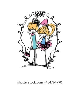 doodle girl illustration, two girls , cartoon illustration