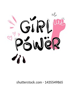 doodle girl power quotes.  illustration vector.