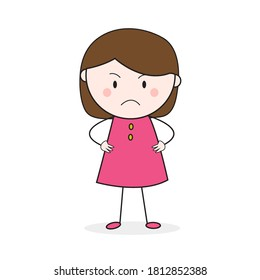 Doodle Girl Stickman Frown Face Standing With Akimbo Pose Cartoon Vector