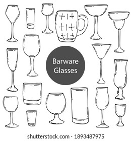 Doodle glasses for the bar. Hand-drawn illustrations. Glass objects