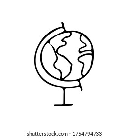 Doodle globe icon. Doodle globes icon in vector. Hand drawn globus icon in vector