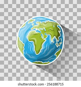 Doodle globe on transparent, vector illustration for your design, eps10 3 layers