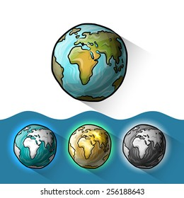 Doodle globe set, vector illustration for your design, eps10 3 layers easy editable