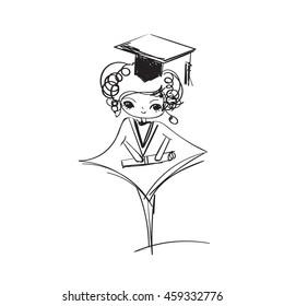 doodle graduation girl vector illustration